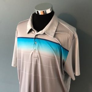 Adidas mens 2XL gray blue striped golf polo shirt